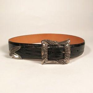Vintage Brighton Black Leather Belt, Size S